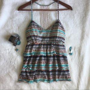 ✌🏼Boho Crochet Lace Yoke Tiered Ruffle Front Top